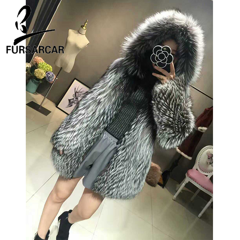 FURSARCAR Moda di Lusso Reale Cappotto di Pelliccia Per Le Donne Giacca di Pelliccia di Inverno Caldo di Spessore In Argento Naturale della Pelliccia di Fox Outwear Vera Pelliccia cappuccio