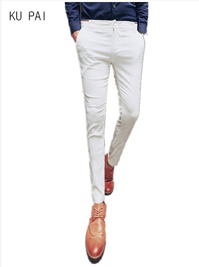 Mens casual pants 2017 new Korean version of the spring color Slim pants hair stylist stretch tight mens trousers