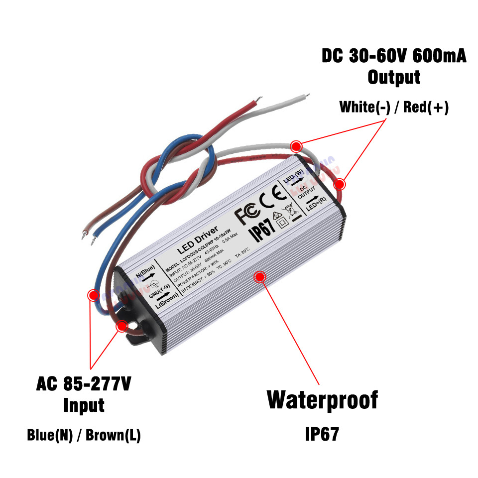 10 18x3w Lighting Transformers 30 54w Constant Current 600ma Led Dc 512v 300ma Driver Circuit 3w Buy 3wled 36 42 48 54 W Watt Waterproof Ip67 Power Supply In From