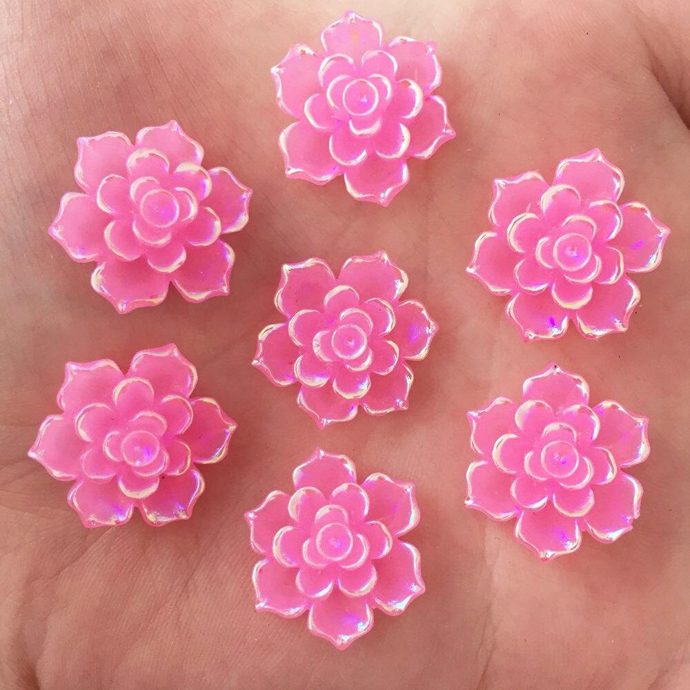Новый 20 шт. 20 мм AB Смола 3D каменный цветок Flatback Свадьба Diy Дизайн кнопку ремесло K333 * 2