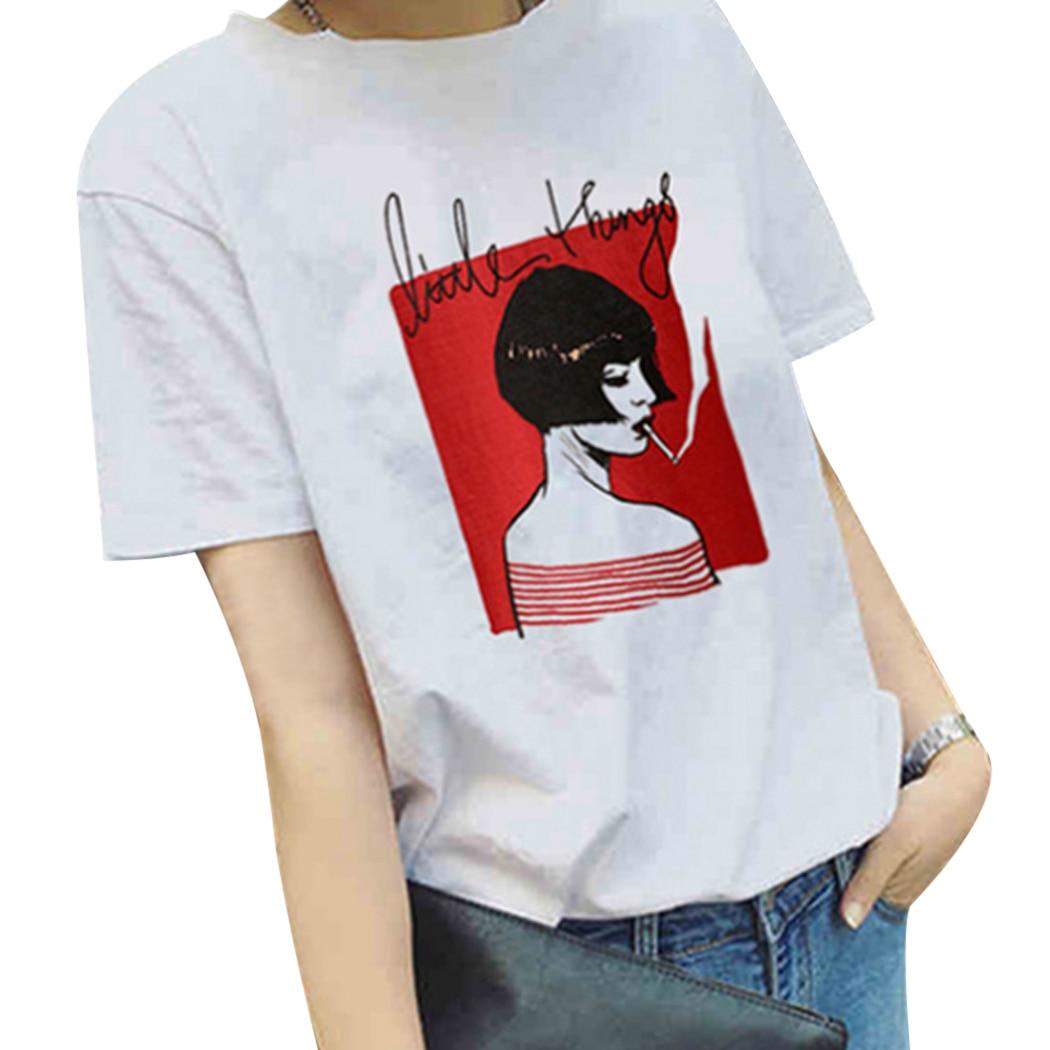 Harajuku Summer Tops Women Cotton T-Shirt 2019 Fashion Printed Funny T Shirt Ladies Short Sleeve Tshirt Girls White Tee Shirt