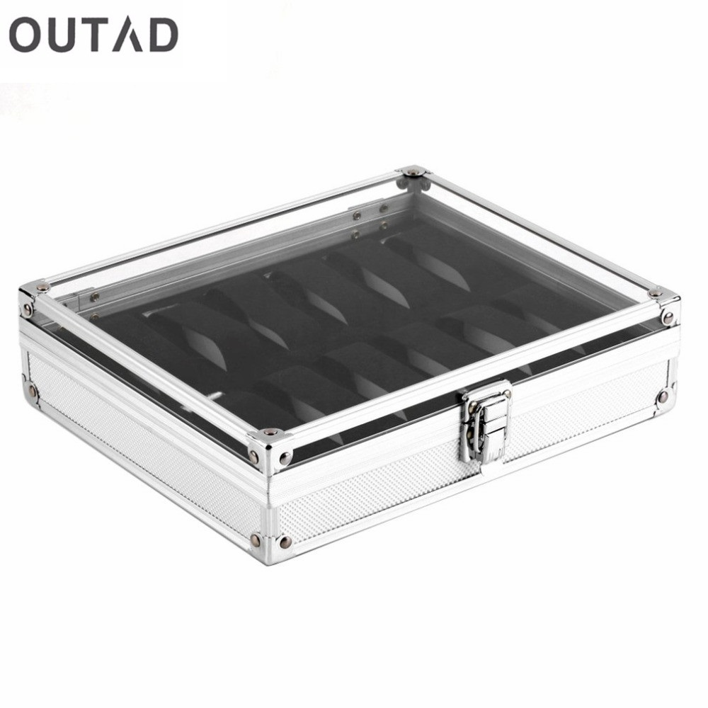 12 Grid Slots Watch Boxes Jewelry Casket Storager Square Box Case Aluminium Suede Inside Container relogio