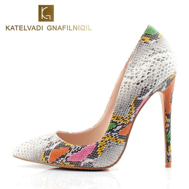 Top Quality High Heels Snake Shoes Extreme Thin Heels Women Pumps Sexy Women Shoes High Heels Ladies Shoes Chaussure K-040