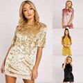 2017 Velvet Dress Sexy velvet fashion mini dress Bodycon High quality Short Sleeve New Mini Dress loose gold velvet lady dress
