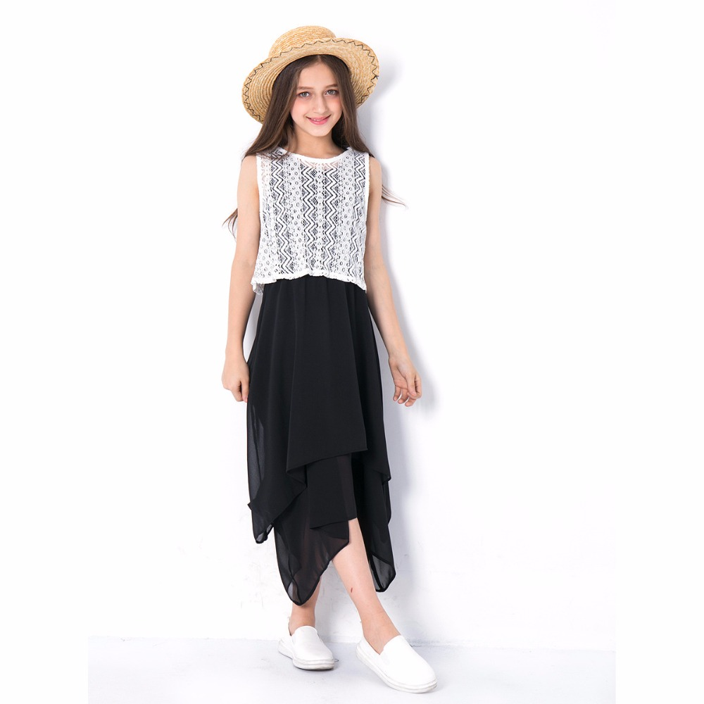 Girls Clothing 9 10 12 14 Years Maxi Dress Black Long Dress Summer Spring 2pcs Irregular Lace Tops European style Teenage Kids tanguoant spring and summer girl dress black and gray irregular hem dress long sleeves solid dress for kids