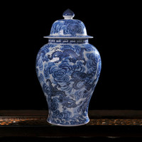 Chinese Classical Antiuqe Handmade Blue And White Dragon Porcelain Ginger Jar Hotel Villa Art Decorations