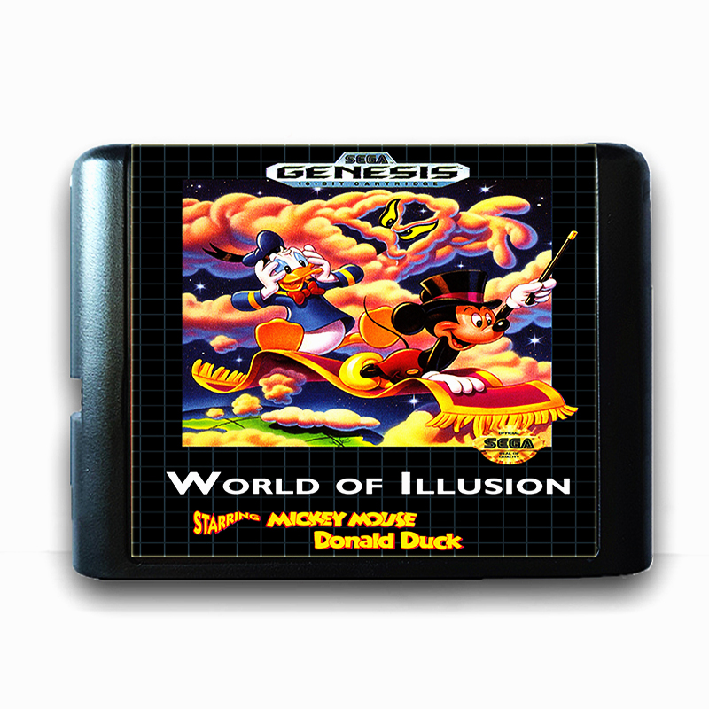 World Of Illusion Starring for 16 bit Sega MD Game Card for Mega Drive for Genesis US PAL Version Video Game Console
