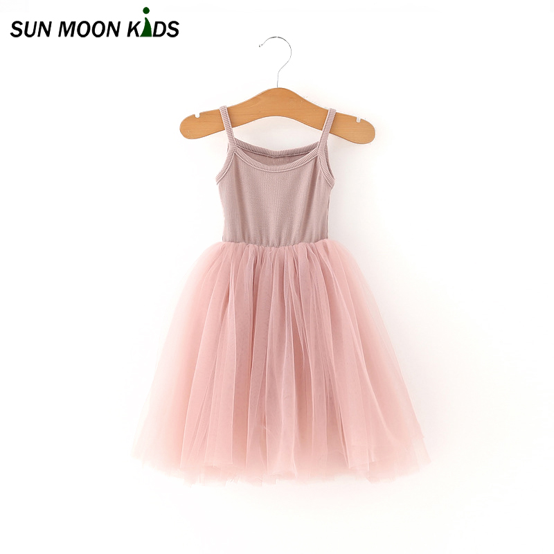 где купить  Sun Moon Kids Dresses For Girls Solid  Mid-calf Casual Ball Gown Sarafan Cotton Summer Baby Girl Tutu Dress New Children Clothes  по лучшей цене
