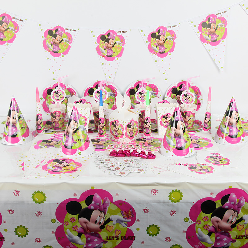 221pcs lot Minnie mouse birthday party supplies sets baby shower supplies For 20 people kids party