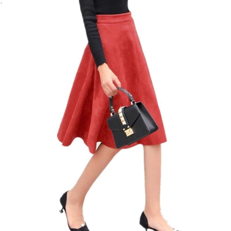 Faldas mujeres falda chica ganso medio Otoño Invierno 2017 nueva Alta cintura retro largo salvaje era delgada una palabra hembra grande