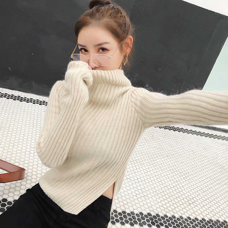 Cao cổ Side Slit Không Đối Xứng OL Dệt Kim Phụ Nữ Áo Len Mỏng Đàn Hồi Đầy Đủ Tay Áo Dệt Kim Cotton Thời Trang Chui jumper