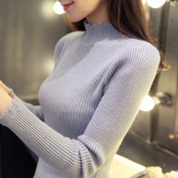 Korean Winter Sweater Half Sleeve Head Shirt Short Thick Thin Sweater Slim Color Thread Bottoming Turtleneck