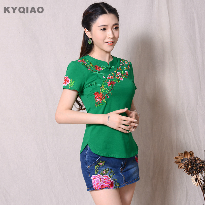 KYQIAO Women Vintage Stand Collar Flowers Embroidery Blouse Female Short Sleeve Ethnic Tee Dark Blue Black Red White Green Top