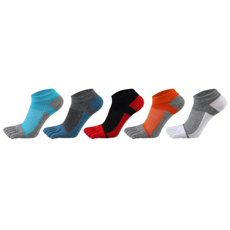 5 pairs/lot summer newest mens toe   socks   pure cotton five fingers   sock   colourful breathable mesh eye toes ankle   socks