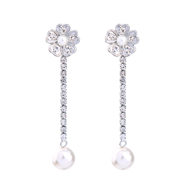 Rhinestone Chain Simulated Pearl Pending Bridal Earrings 2017 Brand Jewelry Women Convertible Flower Earring Jackets