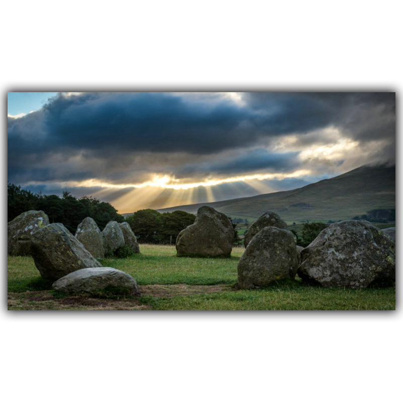 Modern Home Decoration Stones, Mountains, Clouds, Sun Screen Landscape Photo Poster Wallpaper 4 Size FJ086