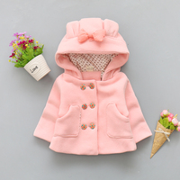 BibiCola 2018 winter   baby   girls coat hooded jackets bowknot newborn girls clothing cute thermal infant toddler thick   outerwear