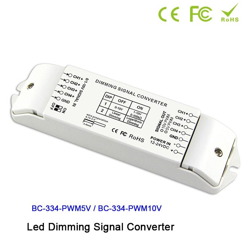 BC334 DIP commutateurs 4 canaux LED variateur de signal convertisseur de signal pilote controller0/1-10 V à PWM 5 V/PWM 10 V 2 pour lampe à LED