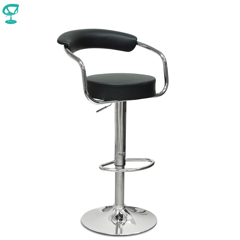 94129 Barneo N-91 Leather Kitchen Breakfast Bar Stool Swivel Bar Chair Black Color Free Shipping In Russia