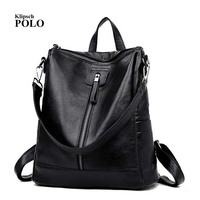 Women Genuine Leather Embossed Backpack For College Shoulder Bag Female Fashion Backpacks Woman Back Pack Daily Women's Backpack