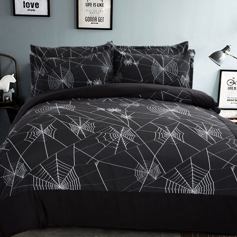 size black white spider web bedding set quilt cover bedsheet pillow cases bedding sets from home u0026 garden on
