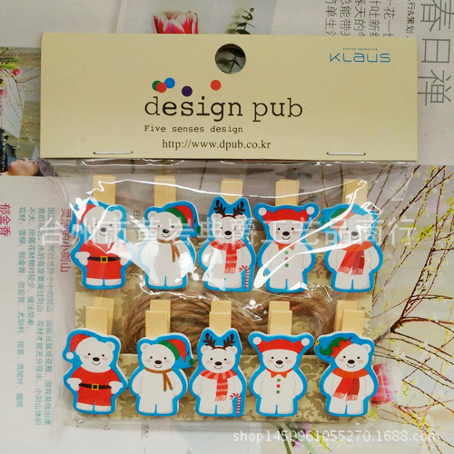 10 Pcs/lot Cute Christmas Bear Wooden Clip Photo Paper Clothespin Craft Clips Party Decoration Clip With Hemp Rope