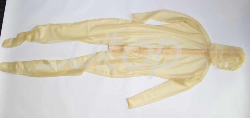 Suitop latex rubber Teddies Exotic Apparel zentai transparent catsuit with hood and feet with back zip