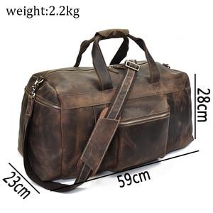 Image 3 - Big Capacity Men Travel Bag Thick Crazy Horse Genuine Leather Male Travel Duffel Extra Large Luggage Handbag Shoulder Bag Tote