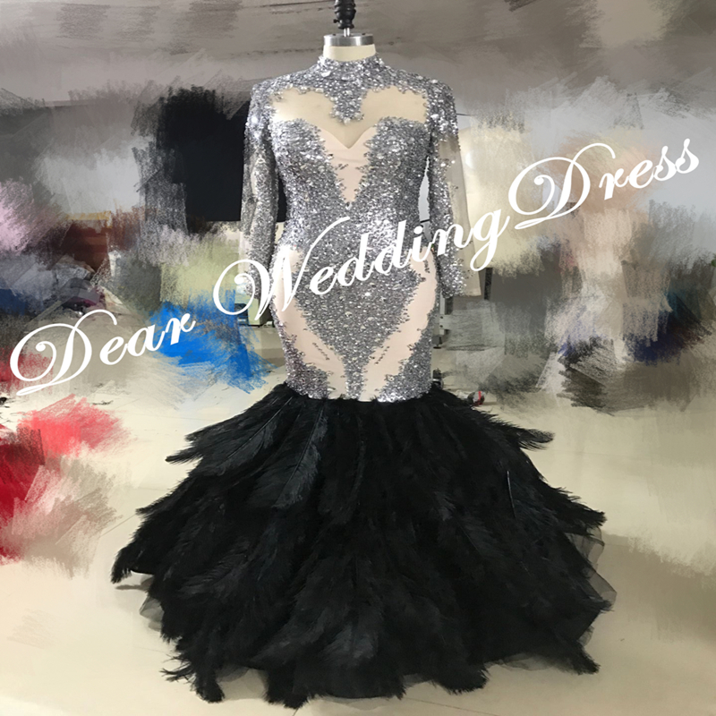 Mermaid Prom Dresses 2019 Sheer Long Sleeves High Neck Lace Applique Beaded Feather Floor Length Formal Party Evening Dresses