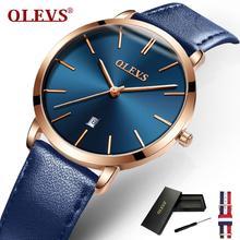 OLEVS top na co dzień zegarek marki dla kobiet ultracienki elegancka kobieta zegar moda wodoodporna skóra panie oglądać prezenty L5869P