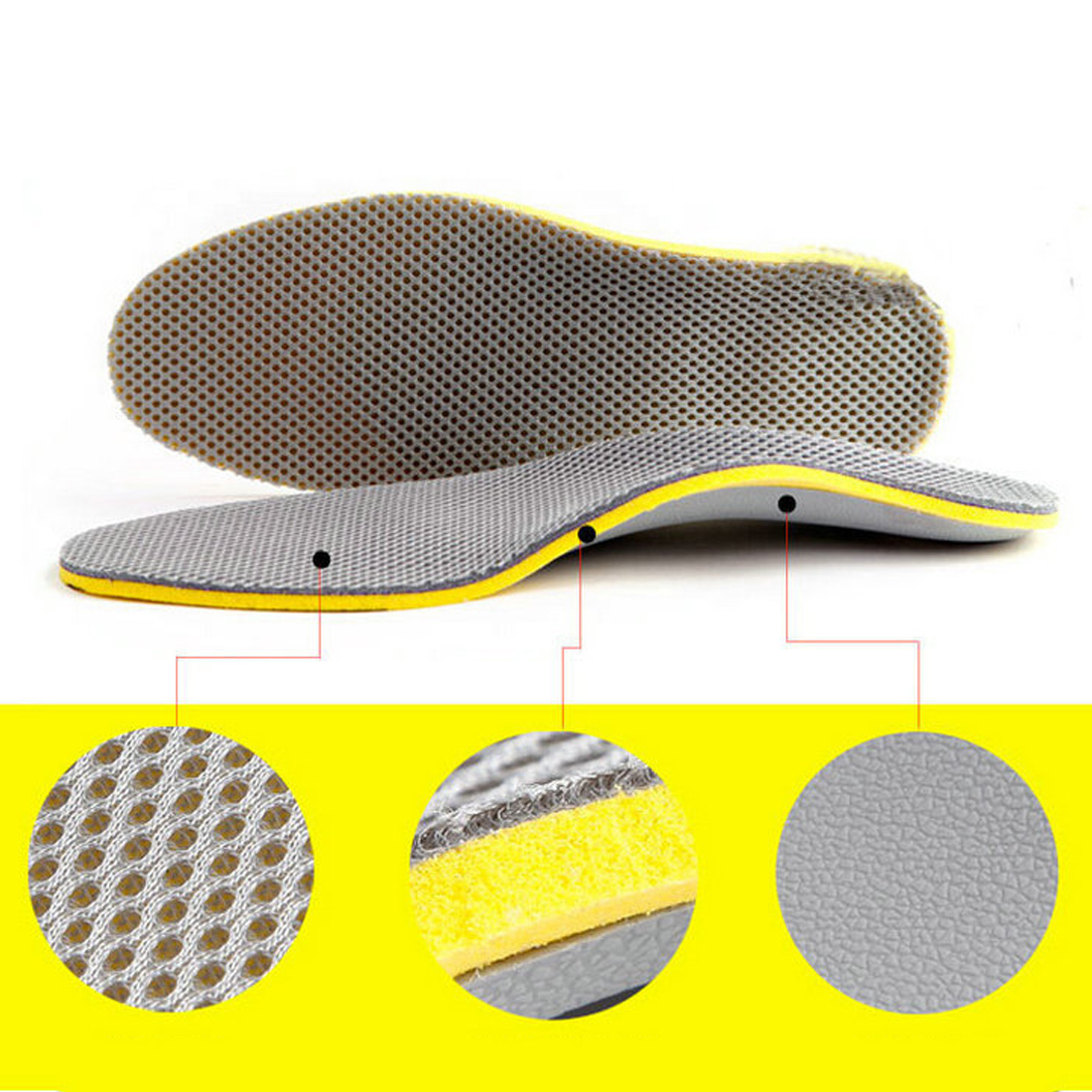 Male/Female PU Orthopedic Insoles 3D Plantar Orthotic Arch Support Insoles High Arch Flat Foot Shoe Pad Shoes Insert