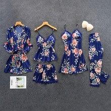 Herislim Women's Pajamas Silk Floral Print 5Pcs Pajama Set Satin Pyjamas With Pants Sexy Lace Trim Pijama Sleepwear Home Clothes недорого