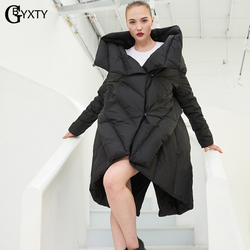 GBYXTY camperas de pluma mujer Puffer Jacket Women Winter Fashion Irregular Long   Down   Jacket Loose Oversize Duck   Down     Coat   ZA825