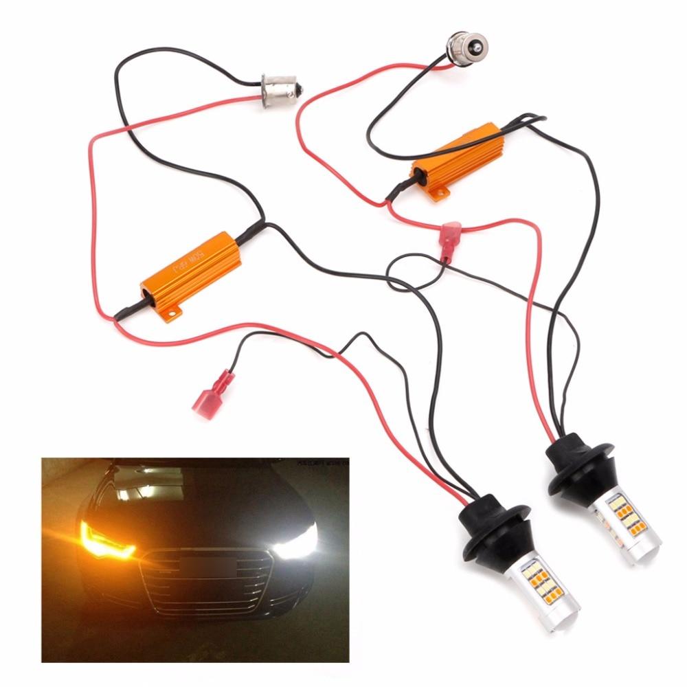 2Pcs Dual-Color BAU15S 2835 42LED 50W Switchback LED DRL Turn Signal Lamp Light Kit 2pcs 12 24v t20 7440 2835 42 smd 1000lm 20w car led drl daytime running light dual color switchback turn signal lamp bulb
