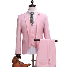 OSCN7 2019 New Pink Tailor Made Suits Men 3 Piece Gentleman Business Wedding Custom Made Mens Suit Blazer Customize 1114-F(China)