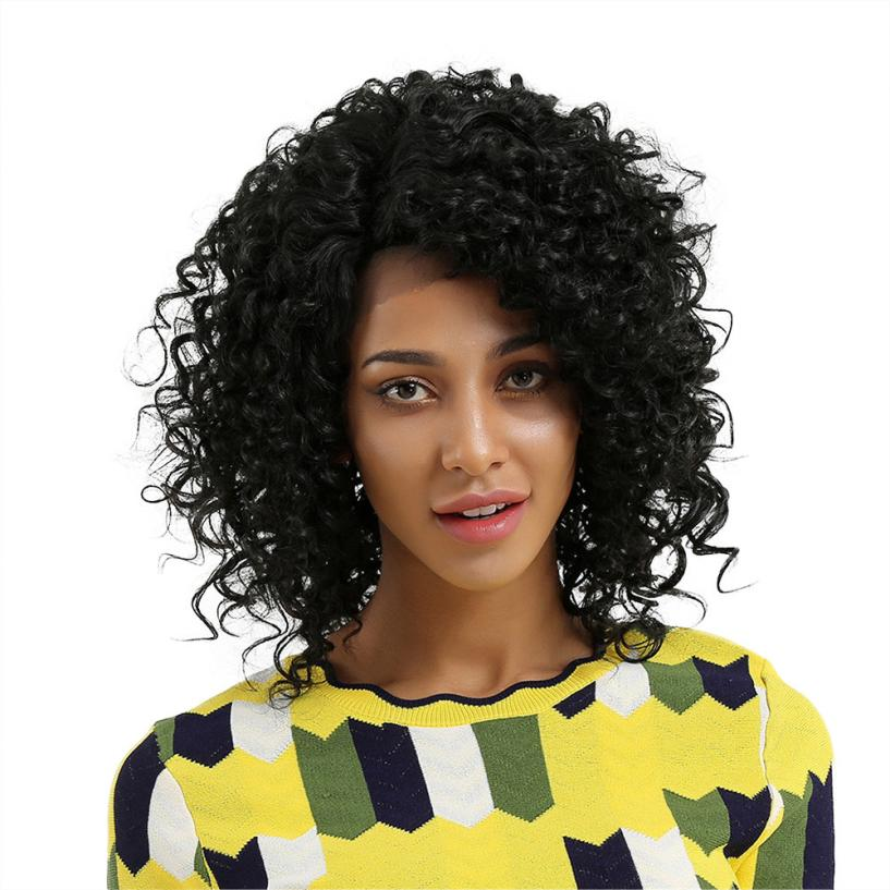 Women's Fashion Glueless Resistant Lace Front Women Black Curls Hair wigs cospay 0621 7a cheap glueless full lace wigs with baby hair virgin malaysian hair wigs body wave full lace human hair wigs for black women