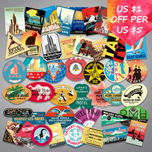 55Pcs Random Retro Stickers For Motorcycle Car Skateboard Snowboard Laptop Phone Suitcase Mixed Travel Vintage Stickers 55pcs mixed retro style travel hotel logo roma paris los japan chicago hawaii baghdad trip car sticker waterproof doodle decal