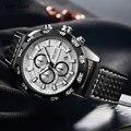 Megir мужские военные спортивные часы с кожаным ремешком Топ бренд хронограф 3 бар водонепроницаемые светящиеся наручные часы мужские 2096G бел...