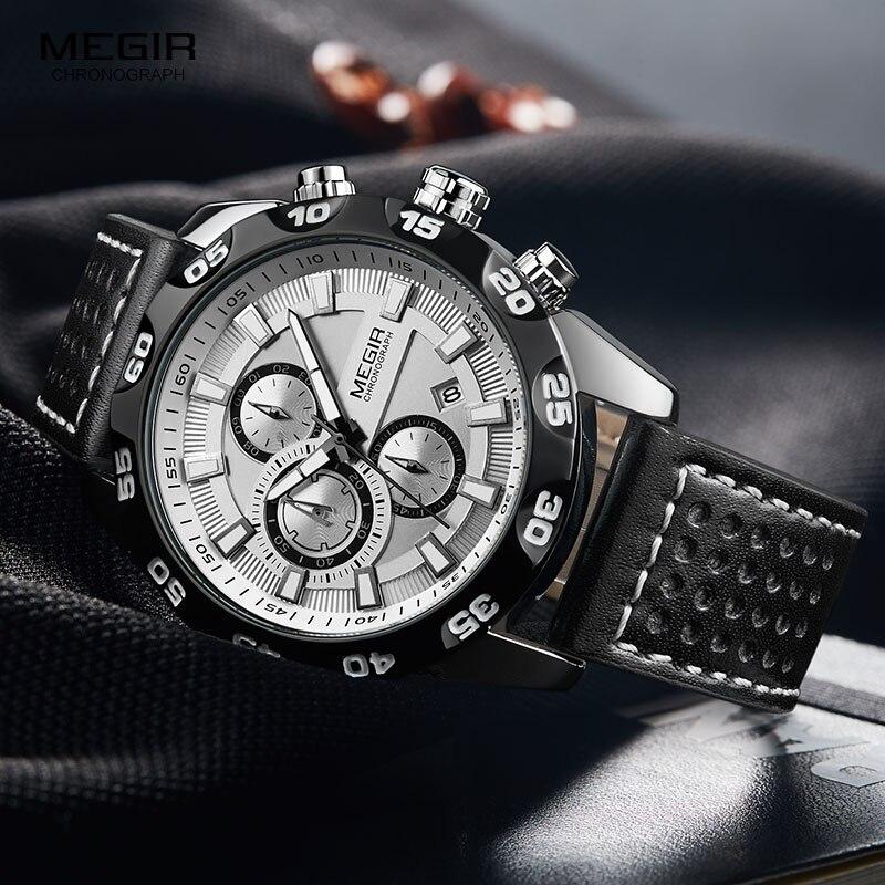 Megir Men's Military Sports Watches Leather Strap Top Brand Chronograph 3 Bar Waterproof Luminous Wrist Watch Man 2096G White