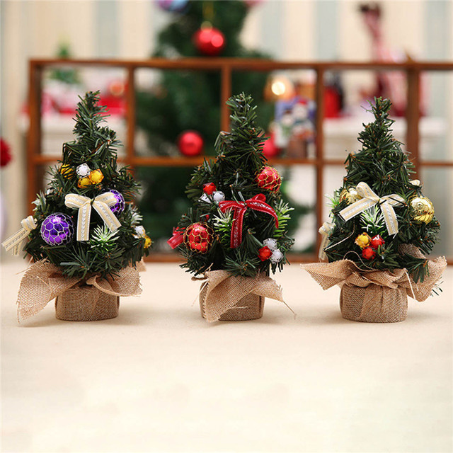 Us 2 89 40 Off Realistic Mini Christmas Tree Cute Plastic Small Xmas Pine Trees Christmas Party Home Desk Table Decorations Ornaments Gift In Trees