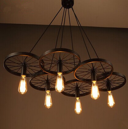 American country industrial style wheel pendant lamps with 6 lights,Retro loft metal pendant light for bar home living lights american country industrial style wheel pendant lamps with 6 lights retro loft metal pendant light for bar home living lights