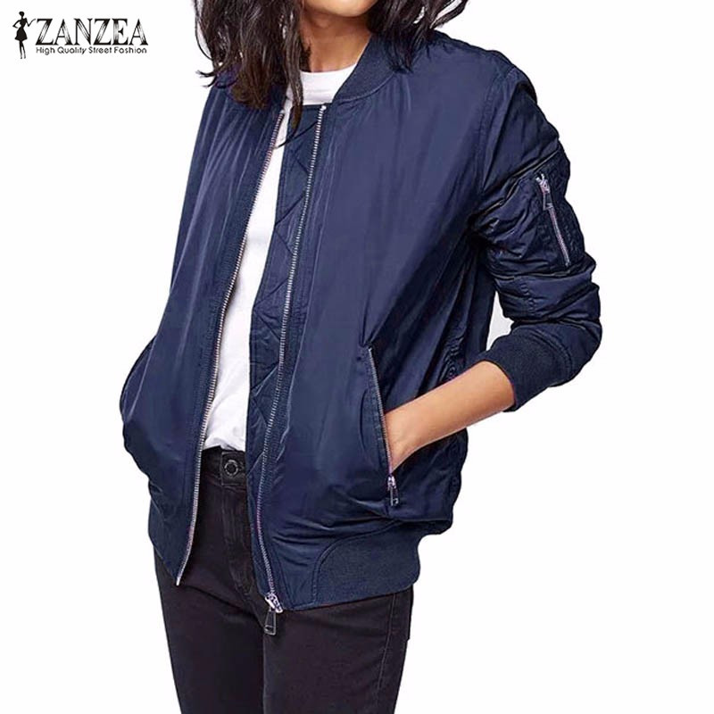 Winter ZANZEA Bomber   Jacket   2016 Fashion Women Short   Basic     Jackets   Long Sleeve Outerwear Casual Slim Warm Coat Plus Size