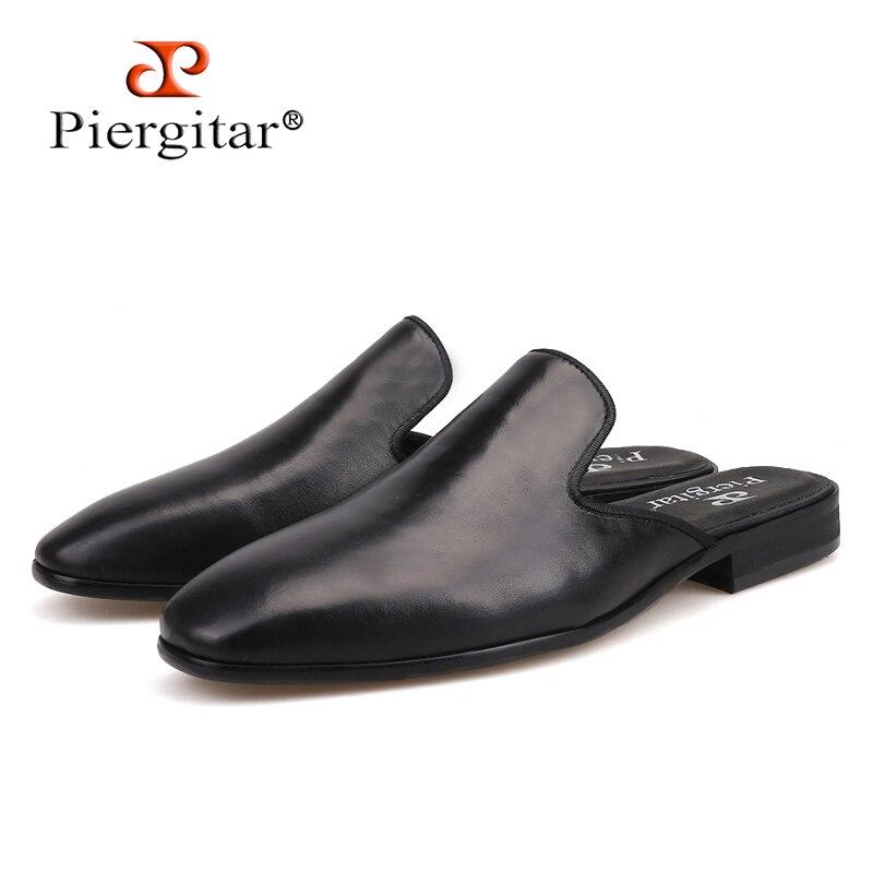 Piergitar جديد نمط اليدوية الرجال خف جلدي الأزياء حزب و تظهر الرجال اللباس أحذية زائد أحجام الذكور التدخين النعال-في شباشب من أحذية على  مجموعة 1