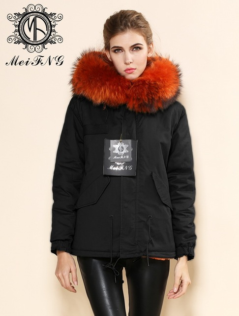 European style fashion womens orange faux fur lined coats winter ...