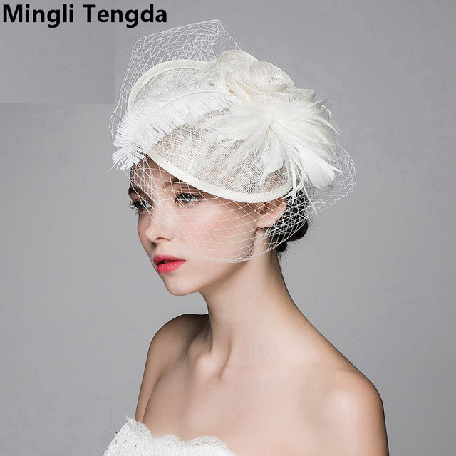 Summer Linen Yarn Ladies Hat Western-style Banquet Feather Headdress Wedding Noble Hat Bridal Hat Bibi Mariage Cap Mingli Tengda