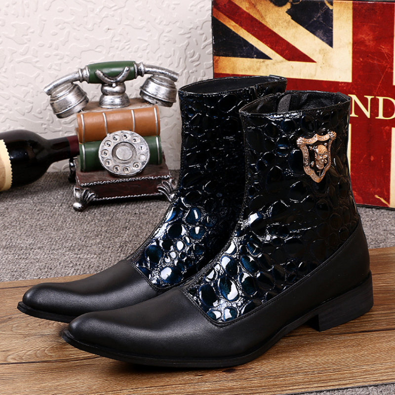 New Fashion Patchwork Men Genuine Leather Ankle Boots Pointed Toe Mid-calf Boots Designer Formal Men Dress Shoes Plus Size