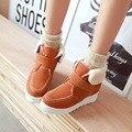Plus Size 11 12 botas de neve térmicas além de veludo elevador cunhas matagal botas mulheres mulher doce estudante de algodão-acolchoado sapatos