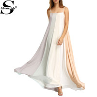 Sheinside Bohemian Multicolor Patchwork Spaghetti Strap Maxi Dresses Summer Occasion Wear Color Block Pleated Long Dress