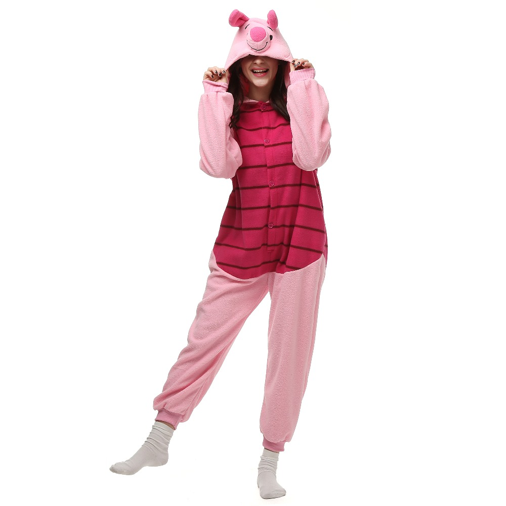 Christmas Halloween Birthday Gift Cartoon Piglet Homewear Hoodie Pajamas Onesies Sleepwear Robe For Adults
