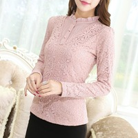 New Arrival Warm Winter Thermal T Shirt Women Long Sleeve Lace Shirt Thicken Fleece Inside Female